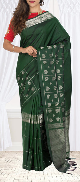 Dark Green Soft Silk Saree