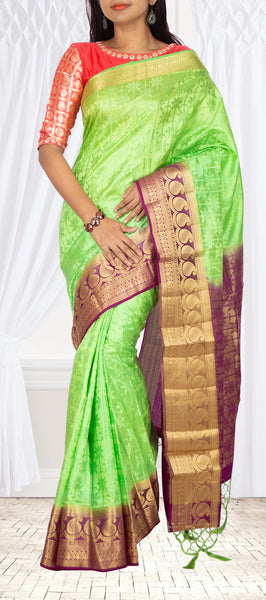 Neon Green & Purple Semi Tussar Saree