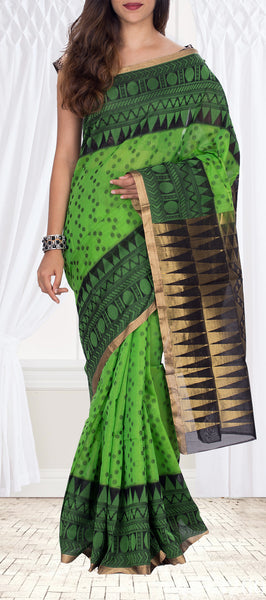 Green & Black Silk Cotton Saree