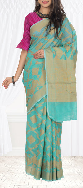 Green & Brown Organza Saree