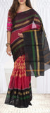 Dark Pink & Black Silk Cotton Saree