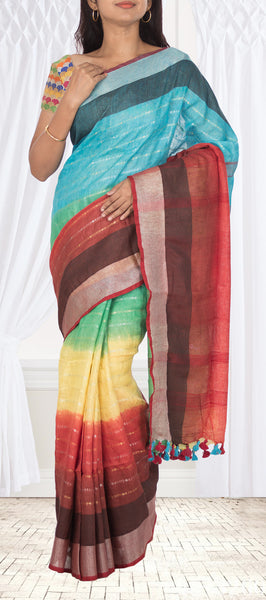Multicoloured Linen Silk Saree