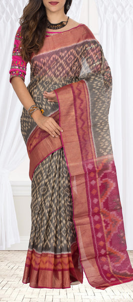 Grey & Magenta Silk Cotton Saree