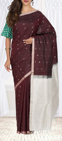 Snuff Brown & Cream Soft Silk Saree