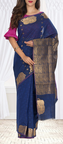 Dark Blue Embossed Semi Silk Cotton Saree