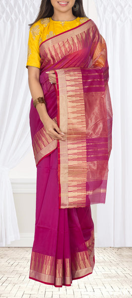 Magenta Semi Maheshwari Cotton Saree