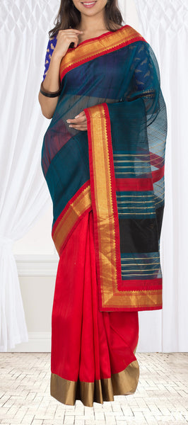 Teal Blue & Red Jute Saree With Pure Zari