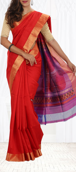 Bright Red Jute Silk Saree