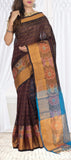 Dark Brown Silk Cotton Saree