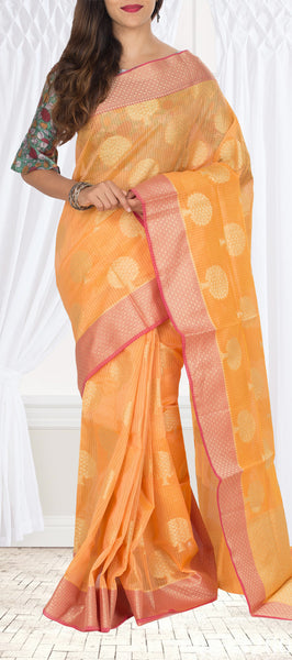 Light Orange & Red Organza Saree