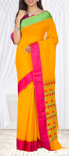 Bright Orange Maheshwari Cotton Saree
