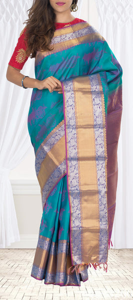 Coral Green & Purple Lightweight Kanchipuram Handloom Silk Saree