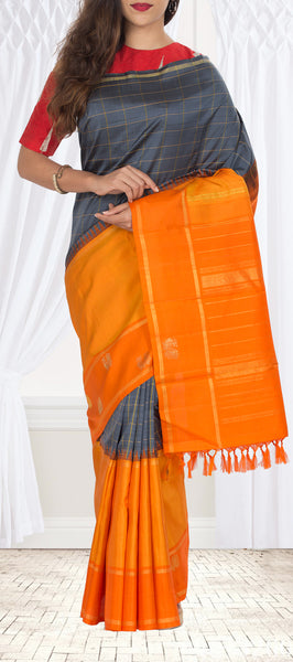 Grey, Mustard & Orange Kanchipuram Handloom Silk Saree With Pure Zari