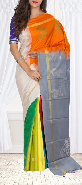 Multicoloured Pure Kanchipuram Handloom Silk Saree With Half-fine Zari