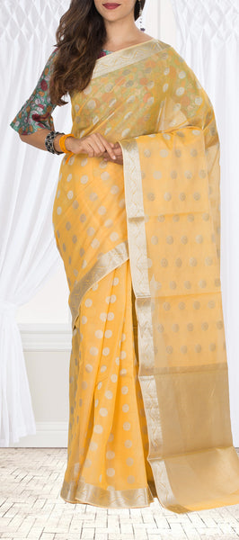 Soft Yellow Silk Cotton Saree