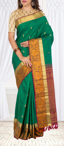 Green & Maroon Pure Kanchipuram Handloom Silk Saree