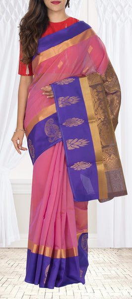 Pink & Purple Semi Silk Cotton Saree