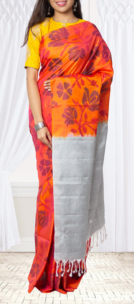 Orange-Pink Shot Colour Soft Silk Saree