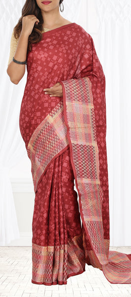 Dark Onion Pink Semi Tussar Saree