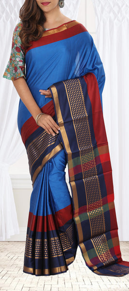 Metallic Blue Semi Tussar Saree