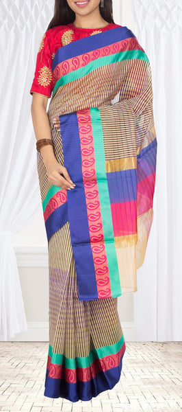 Multicoloured Semi Silk Cotton Saree