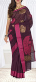 Snuff Brown & Dark Pink Semi Silk Cotton Saree