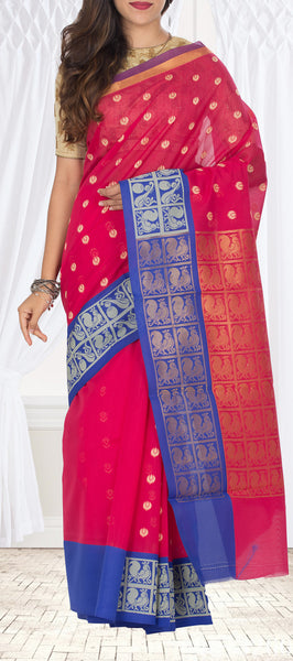 Dark Pink & Royal Blue Semi Silk Cotton Saree