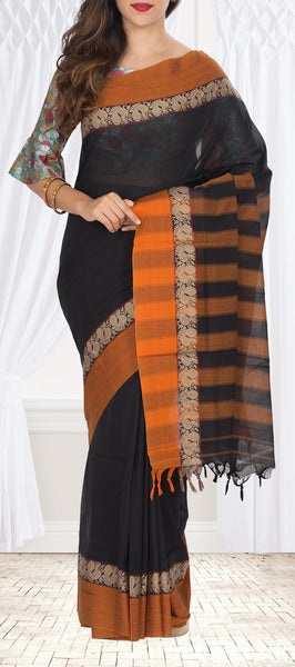 Black & Orange Cotton Saree