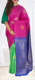 Pink, Green & Blue Pure Kanchipuram Handloom Silk Saree With Pure Zari