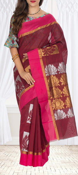 Maroon & Pink Semi Silk Cotton Saree