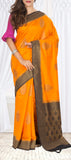 Orange & Black Semi Jute SIlk Saree