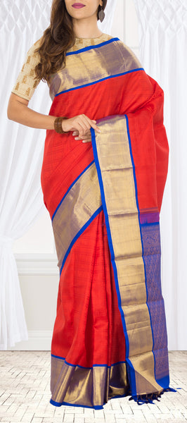 Deep Orange Pure Kanchipuram Handloom Silk Saree with Half Fine Zari