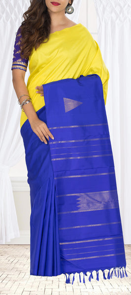 Royal Blue & Neon Yellow Pure Kanchipuram Handloom Silk Saree With Pure Zari