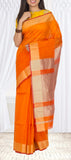Orange Semi Maheshwari Cotton Saree With Jute Finish