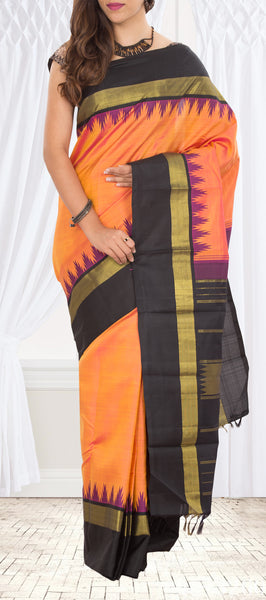 Peach & Black Pure Kanchipuram Handloom Silk Saree With Half-fine Zari