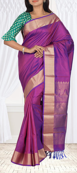 Purple Pure Kanchipuram Handloom Silk Saree With Half Fine Zari