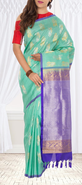 Ice Blue & Purple Pure Kanchipuram Handloom Silk Saree