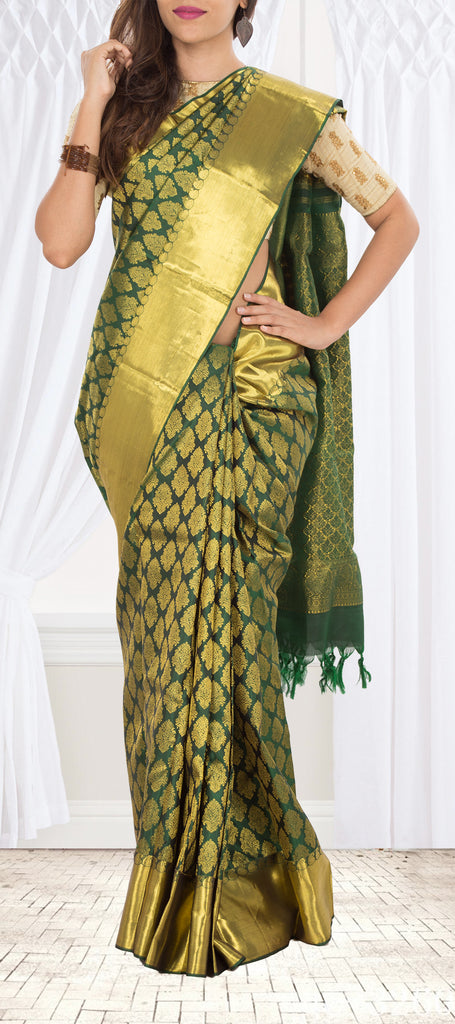 3955cc382ef13 Dark Green Pure Kanchipuram Handloom Silk Saree with Half Fine Zari. Saree