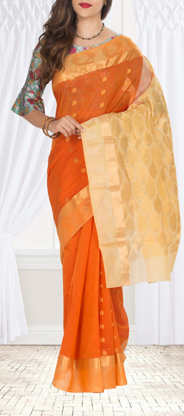 Orange & Cream Semi Silk Cotton Saree