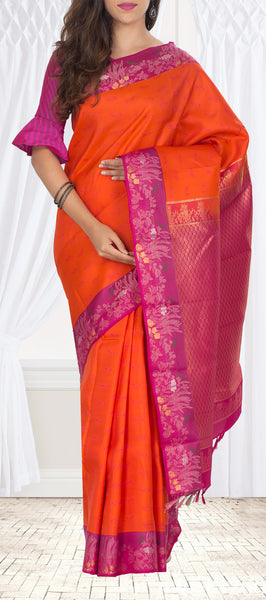 Orange & Pink Lightweight Kanchipuram Handloom Silk Saree
