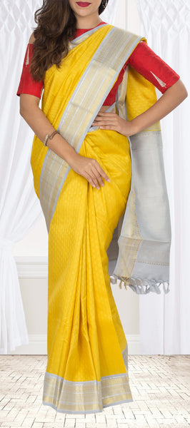 Yellow & Grey Kanchipuram Handloom Silk Saree With Pure Zari