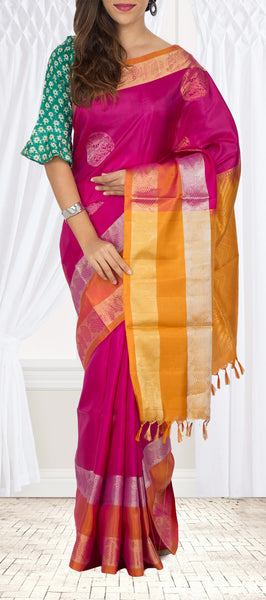 Dark Pink & Mustard Soft Silk Saree