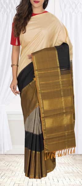 Cream, Black & Brown Kanchipuram Handloom Silk Saree With Pure Zari