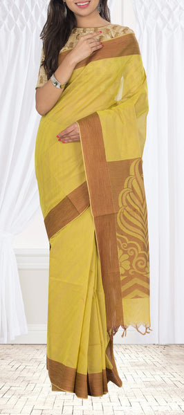Mustard & Brown Embossed Cotton Saree