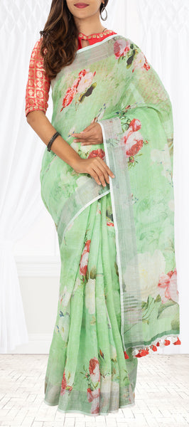 Parrot Green Linen Saree