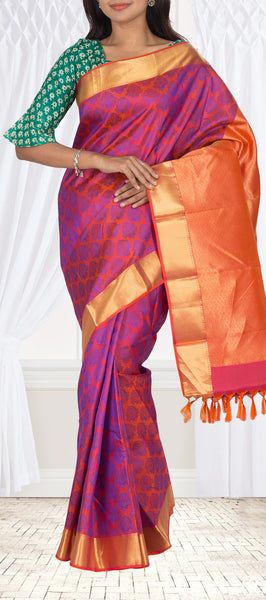 Bright Pink Lightweight Kanchipuram Silk Saree