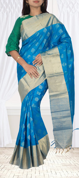Turquoise Blue Lightweight Kanchipuram Handloom Silk Saree