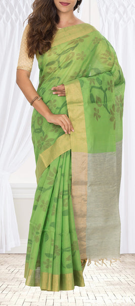 Parrot Green Silk Cotton Saree