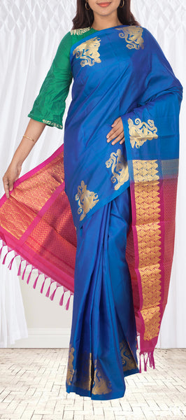 Dark Blue & Magenta Lightweight Kanchipuram Handloom Silk Saree
