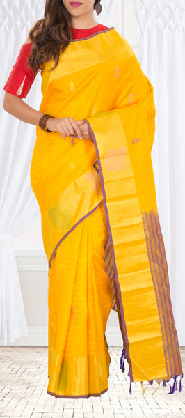 Mango Yellow Pure Kanchipuram Handloom Silk Saree With Half-fine Zari